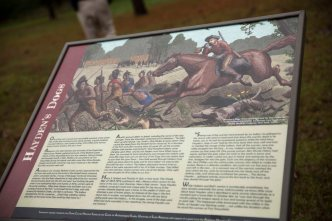 A pivotal moment in the battle is depicted in the signage at the site.